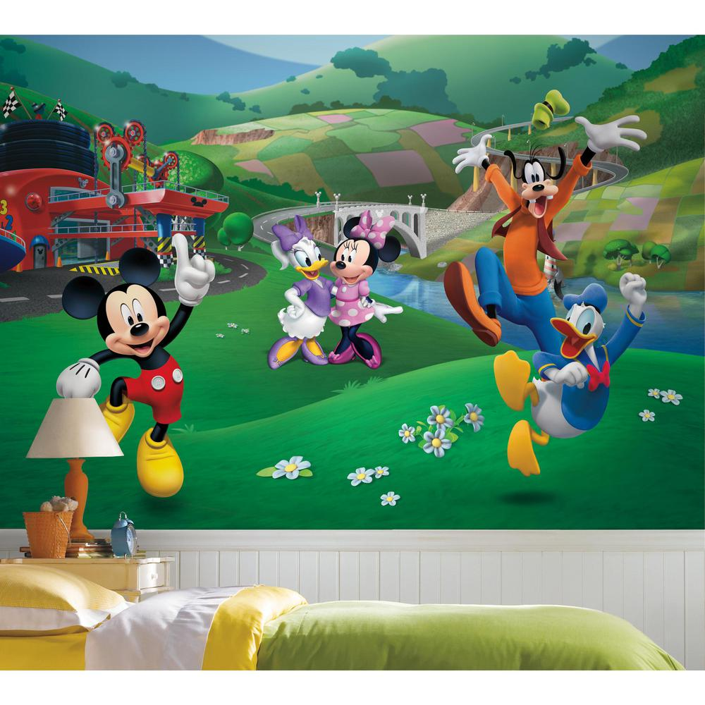 Roommates 72 In X 126 In Mickey And Friends Roadster Racer Xl Chair Rail 7 Panel Prepasted Mural Jl1435m The Home Depot