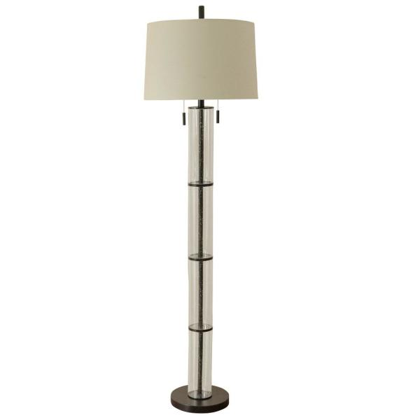 Terra 64.5 in. Clear Glass and Oil Rubbed Bronze Floor Lamp with Oatmeal Tapered Drum Shade