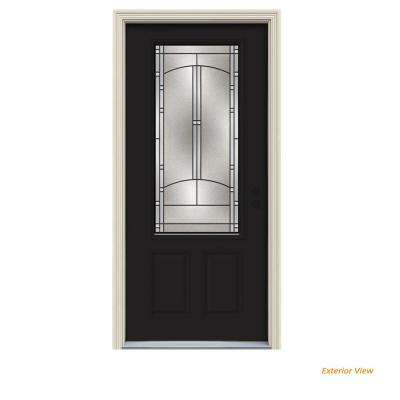 36 in. x 80 in. 3/4 Lite Idlewild Black Painted Steel Prehung Left-Hand Inswing Front Door w/Brickmould