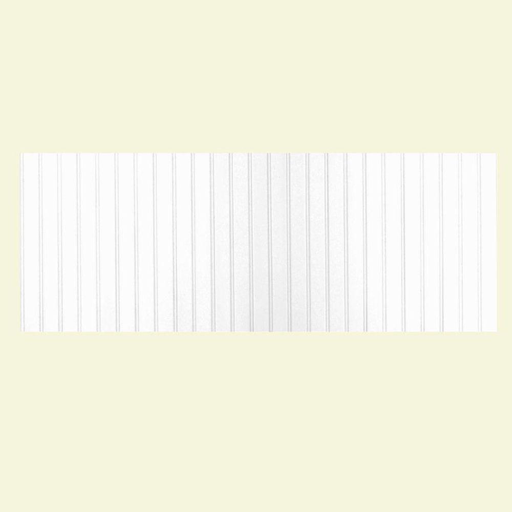 Swan 8 ft. x 3 ft. Beadboard One Piece Easy Up Adhesive Wainscot in White
