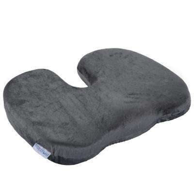 Contoured Memory Foam Coccyx Pillow Cushion with Gray Plush Cover