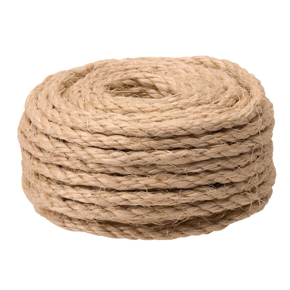 Everbilt 1/4 in. x 50 ft. Twisted Sisal Rope Twine, Natural