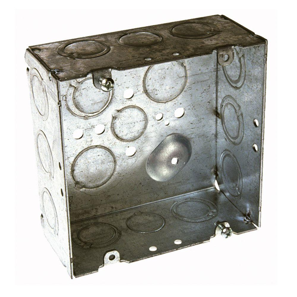 RACO 4-11/16 in. Square Welded Box, 2-1/8 in. Deep with 1/2 and 3/4 ...