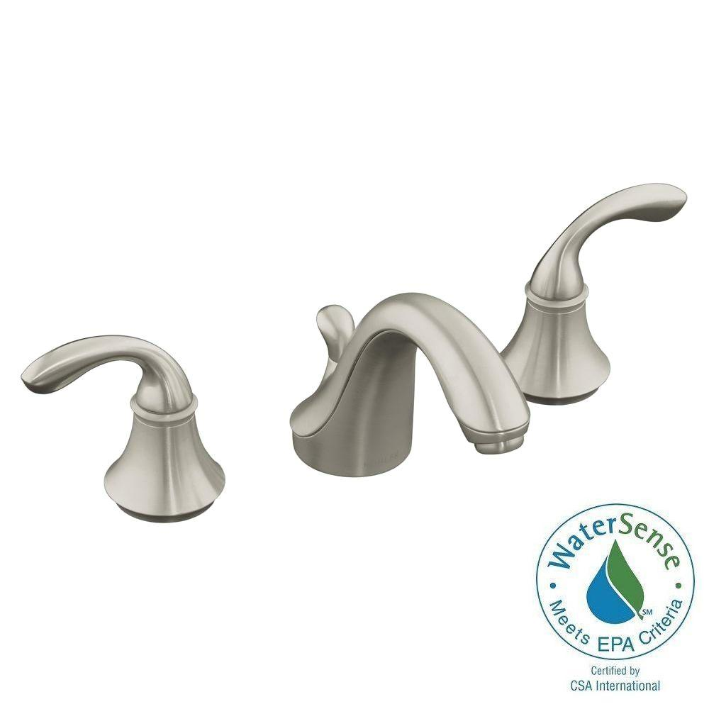 KOHLER Forte 8 in. Widespread 2-Handle Low-Arc Bathroom Faucet in Vibrant Brushed Nickel with Plastic Drain