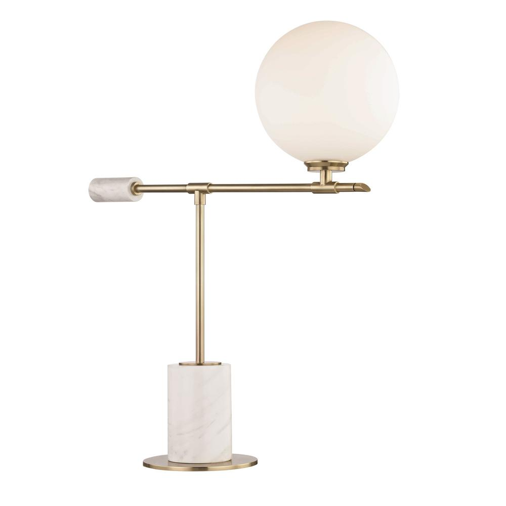 Bianca 23.5 in. Aged Brass LED Table Lamp with Opal Etched