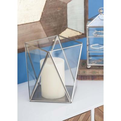 Large: 9 in; Small: 5 in. Clear Glass Geometric Candle Holders with Gray Accents (Set of 2)