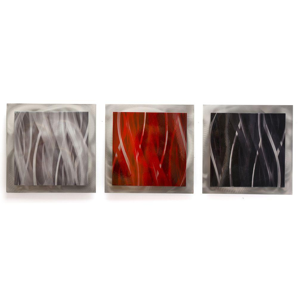 Red Metal Wall Art Filament Design Brevium 12 Inx 38 Inred Black And Silver