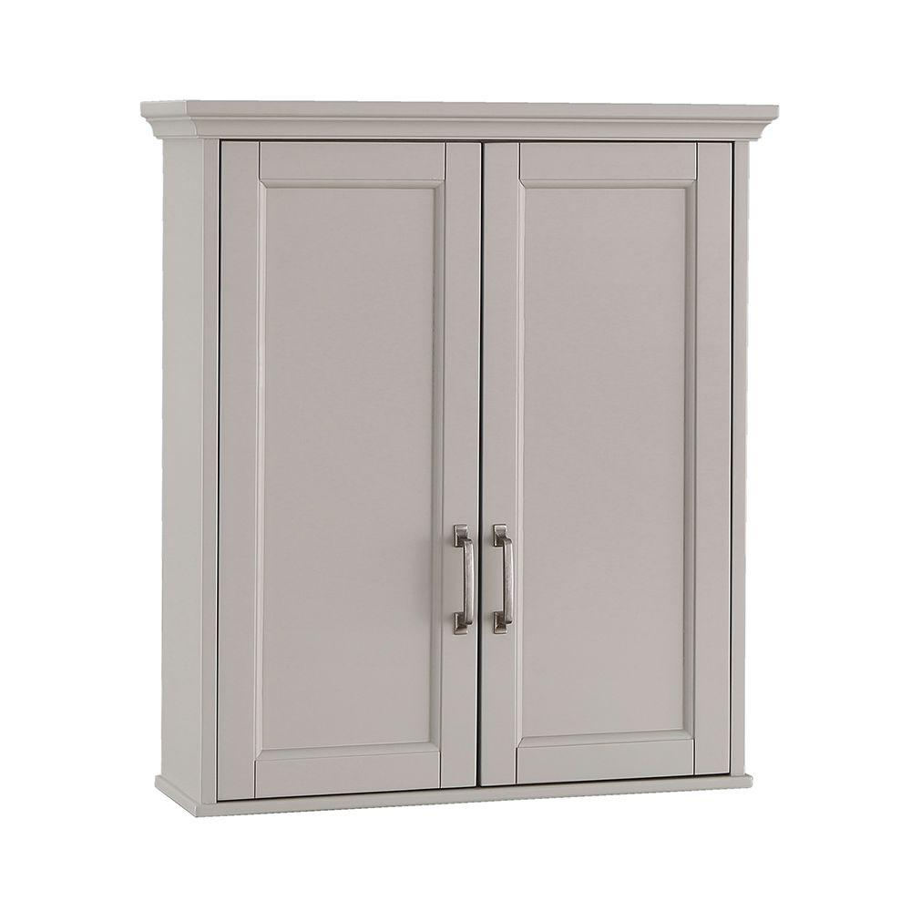 225 & Home Decorators Collection Ashburn 23-1/2 in. W x 28 in. H x 7-88/100 in. D Bathroom Storage Wall Cabinet in Grey