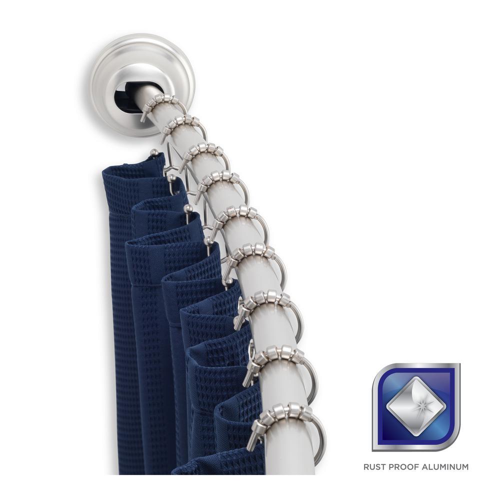 Adjustable Tension Mount Curved Shower Rod In Brushed Nickel