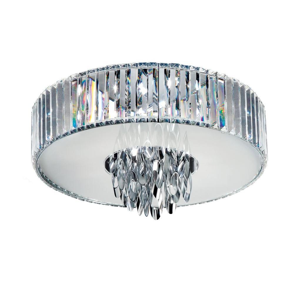 Bel Air Lighting 4-Light Polished Chrome Flush Mount with Crystals