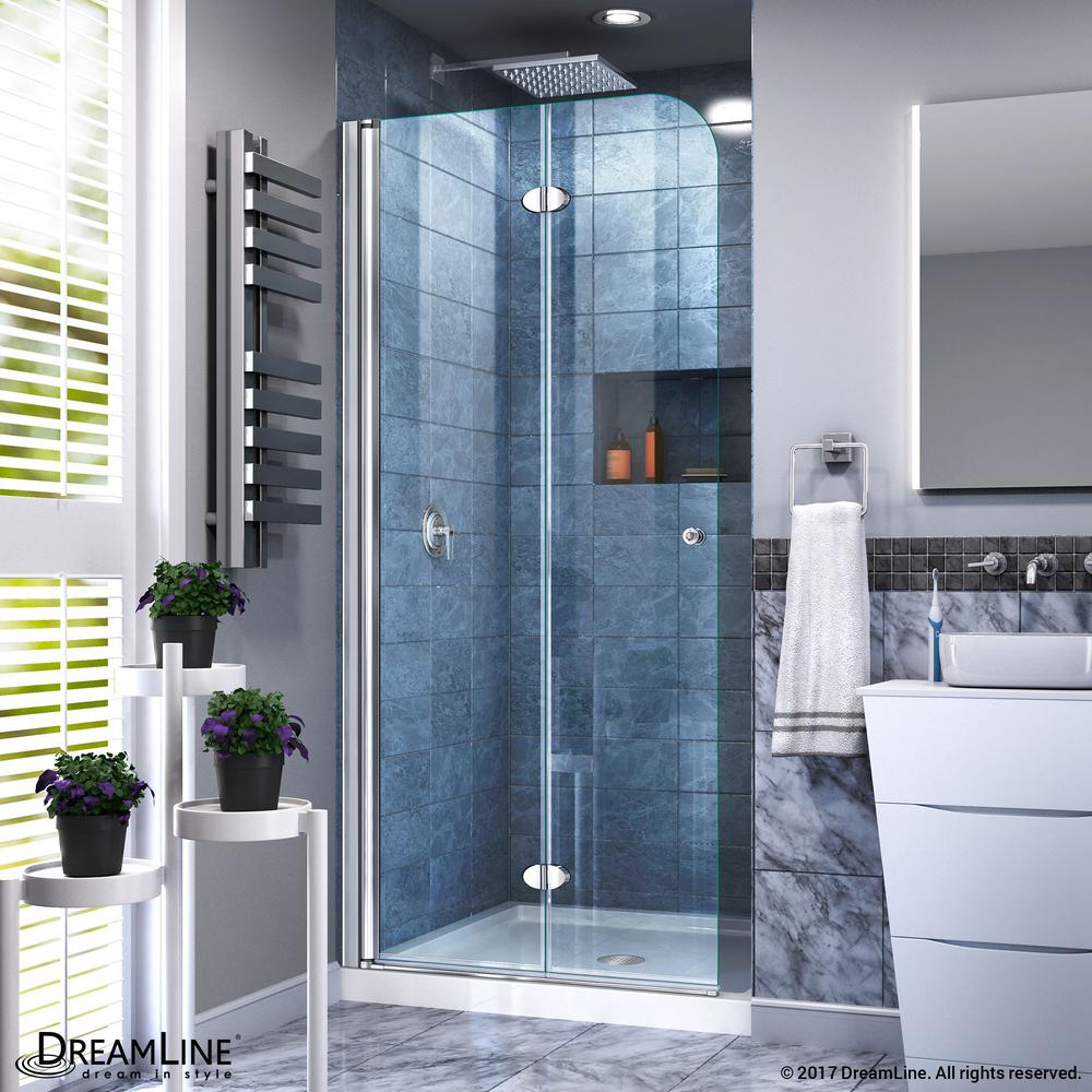 DreamLine Aqua Fold 32 in. x 74.75 in. Frameless Hinged Shower Door ...