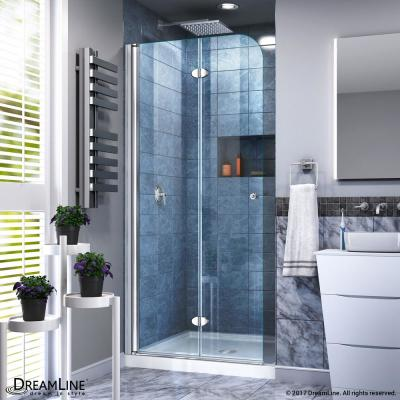 Aqua Fold 32 in. x 74.75 in. Frameless Hinged Shower Door and Base in Chrome, White Base