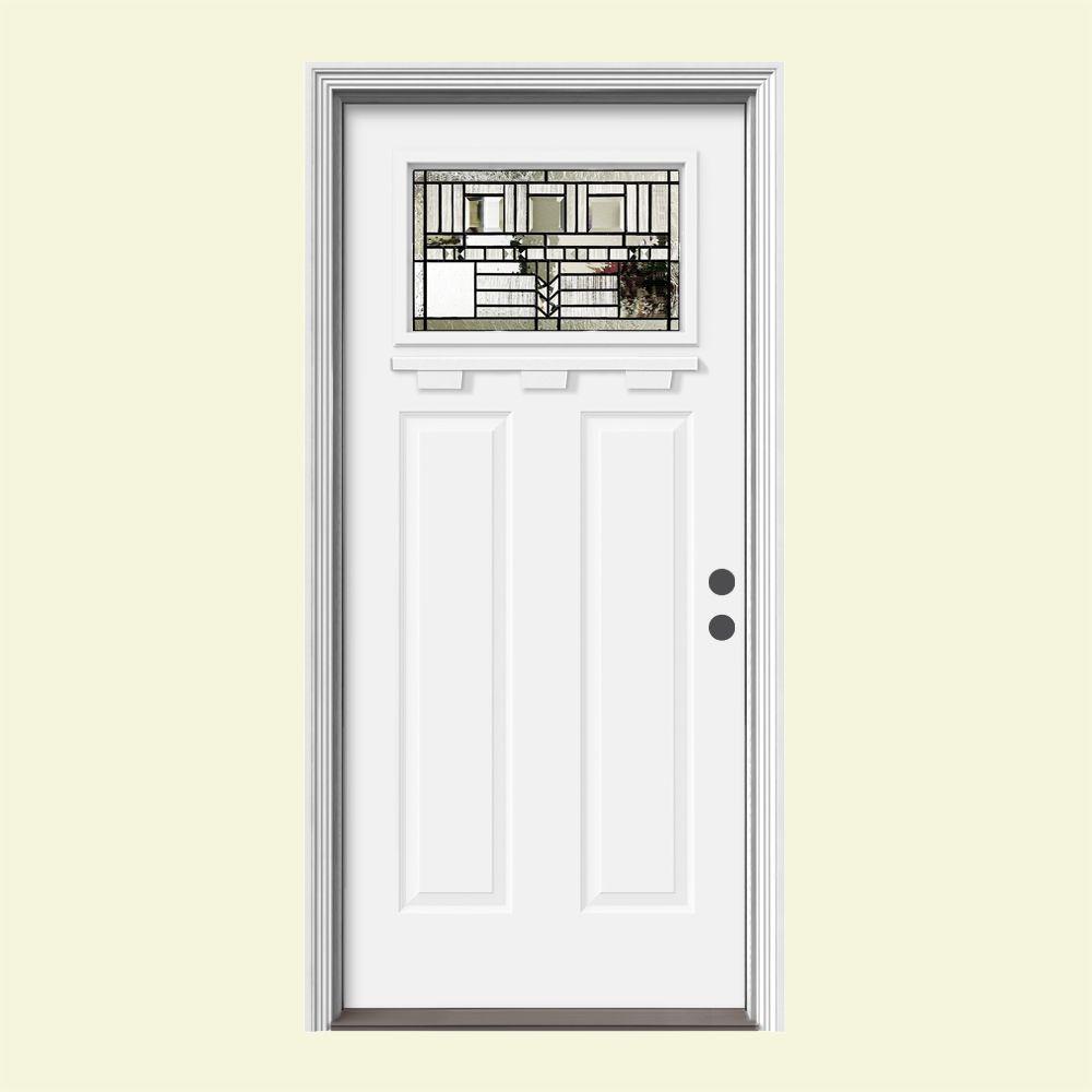 JELD-WEN 36 in. x 80 in. 1 Lite Craftsman Oak Park White Painted Steel Prehung Left-Hand Front Door w/Brickmould and Shelf