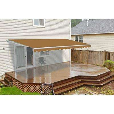12 Ft Manual Patio Retractable Awning 120 In Projection Sand