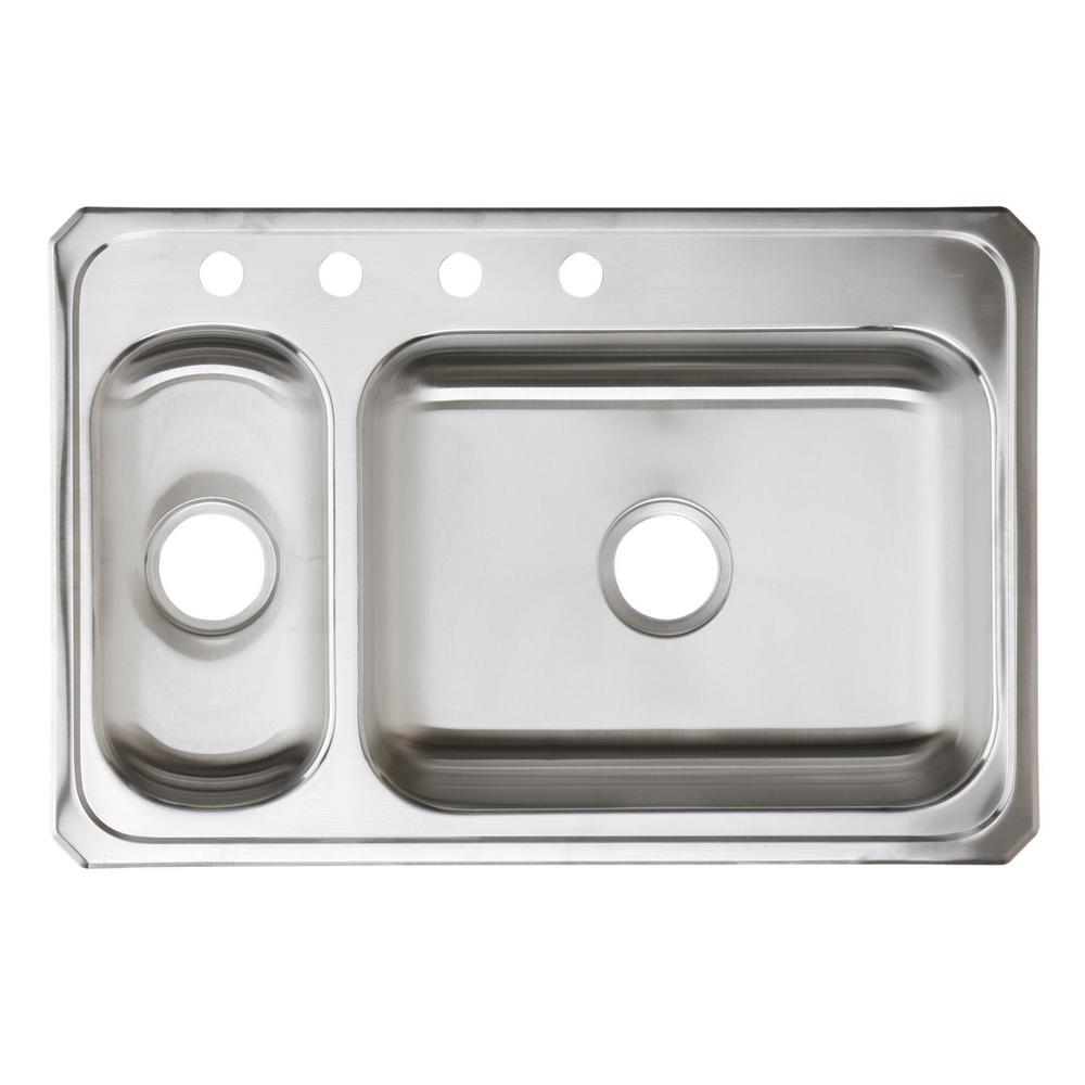 elkay celebrity drop in stainless steel 33 in 4 hole double bowl rh homedepot com