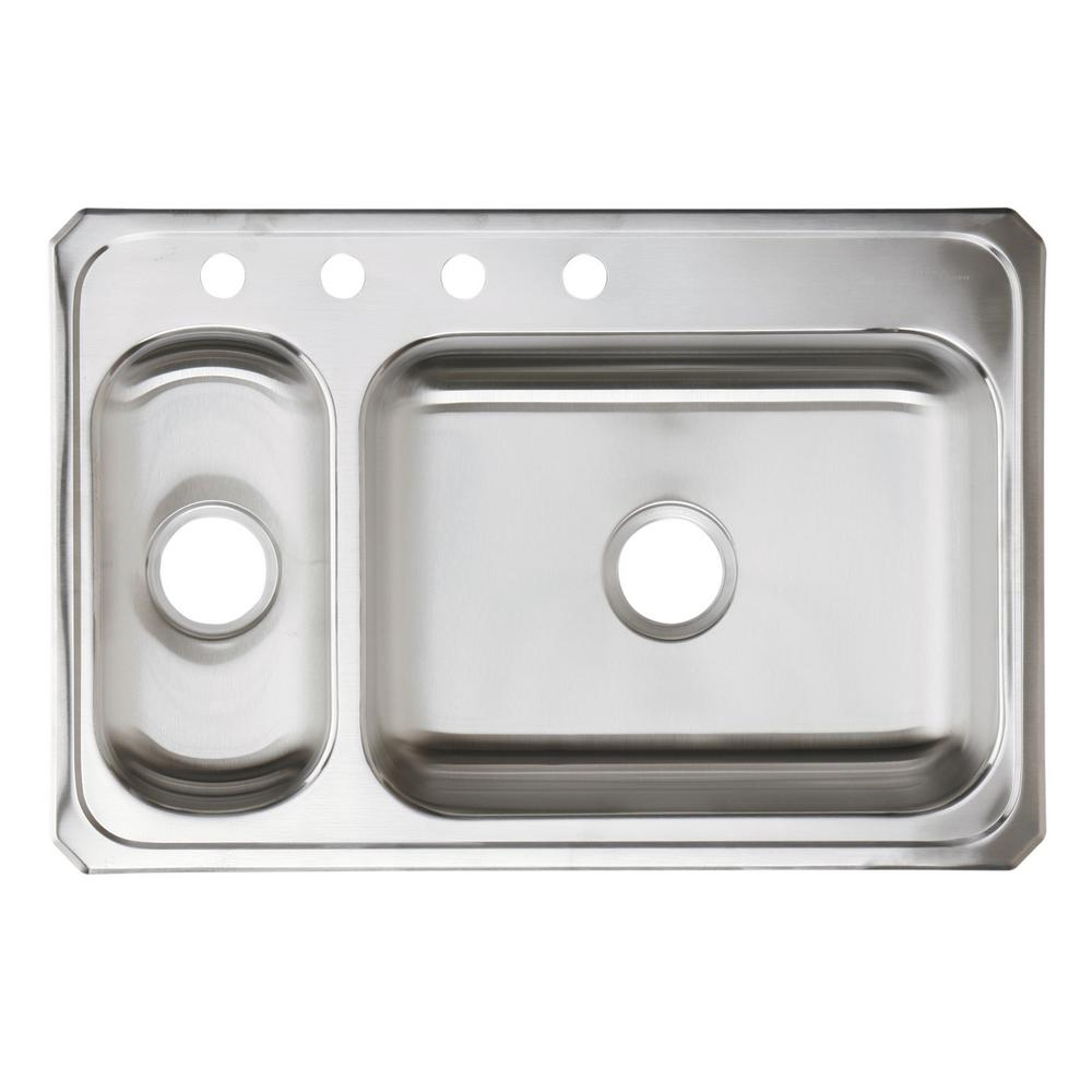 Elkay Celebrity Drop-In Stainless Steel 33 in. 4-Hole Double Bowl ...