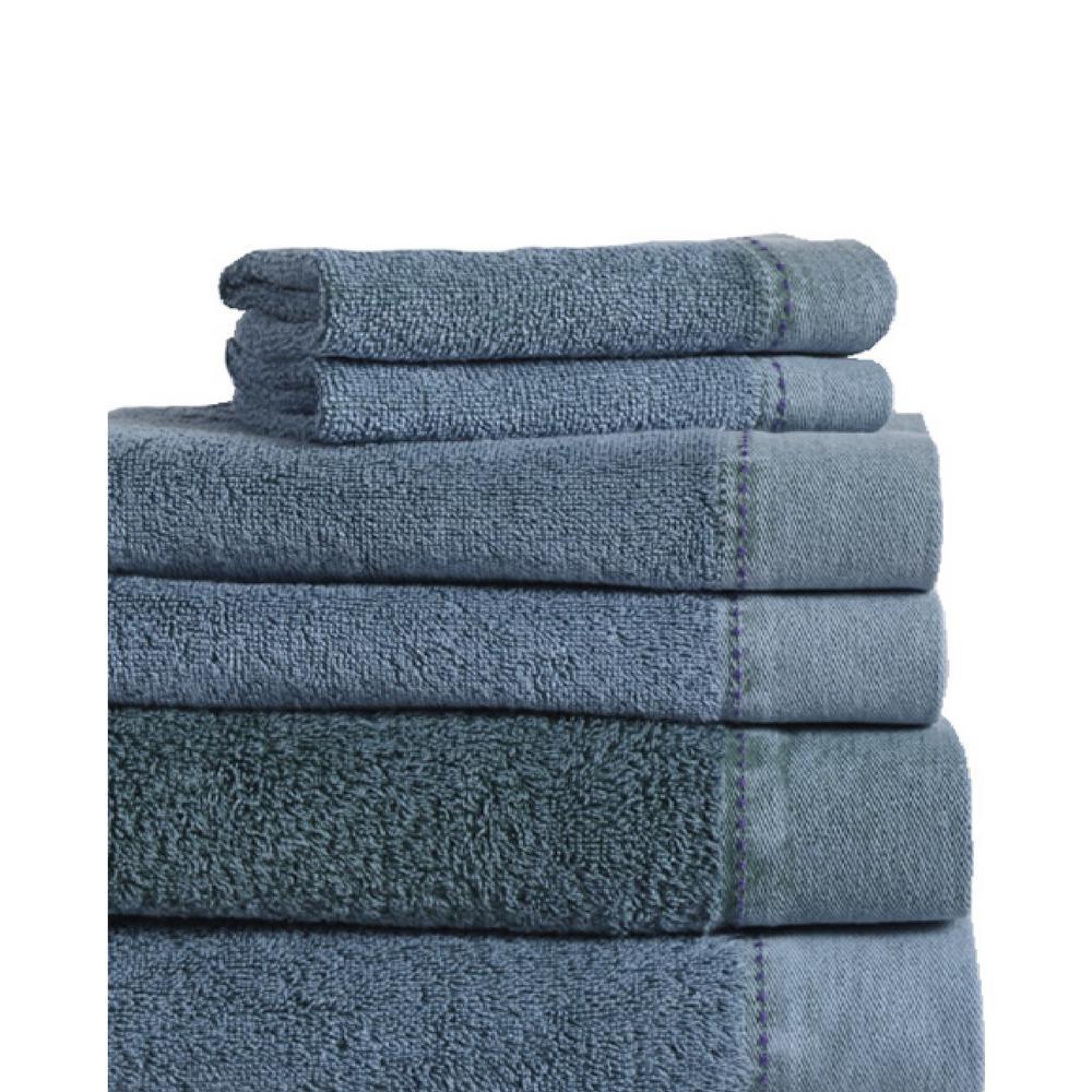 MO Stonewash 6-Piece 100% Cotton Bath Towel Set in Denim