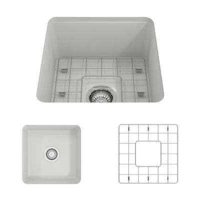 Sotto Undermount Fireclay 18 in. Single Bowl Kitchen Sink with Bottom Grid and Strainer in Matte White