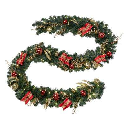 Artificial Christmas Garland.12 Ft Pre Lit Led New Plaza Artificial Garland With 100 Warm White Lights