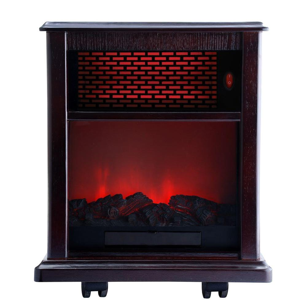 American Comfort 1500-Watt Portable Infrared Fireplace Heater Solid wood construction - Espresso