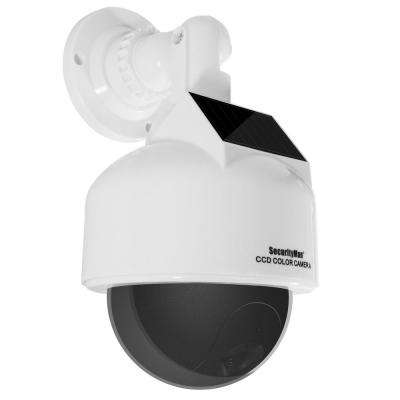 Solar Powered Dummy Outdoor/Indoor Speed Dome Camera with Wired Standard Surveillance Camera Flashing LED