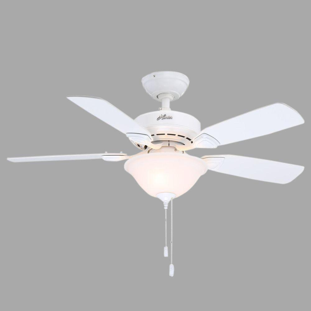 Hunter White Fan Part - 42: Hunter Caraway 44 In. Indoor White Ceiling Fan With Light