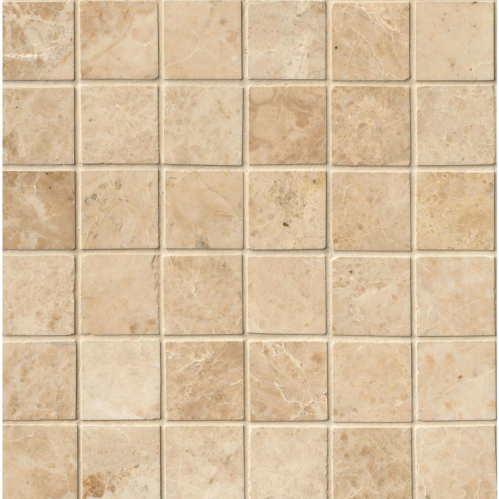 MSI Crema Cappuccino 12 in. x 12 in. x 10mm Polished Marble Mesh-Mounted Mosaic Tile (10 sq. ft. / case)