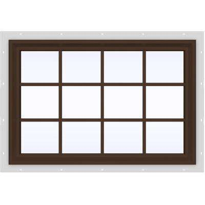 47.5 in. x 35.5 in. V-2500 Series Brown Painted Vinyl Fixed Picture Window with Colonial Grids/Grilles