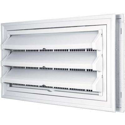 9-3/8 in. x 17-1/2 in. Foundation Vent Kit with Trim Ring and Optional Fixed Louvers (Galvanized Screen) in #001 White