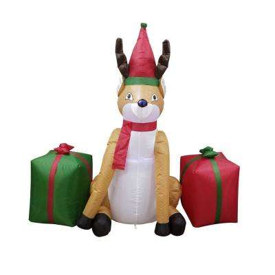 48 in. Christmas Inflatable Reindeer with Presents UL Certified Blower and LED Lights