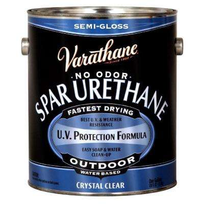 1 gal. Clear Semi-Gloss Water-Based Exterior Spar Urethane (Case of 2)