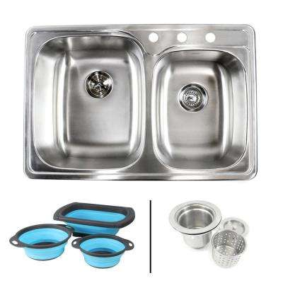 Topmount Drop-In 18G Stainless Steel 33-1/8 in. 3 Hole 60/40 Double Bowl Kitchen Sink w/ Collapsible Silicone Colanders