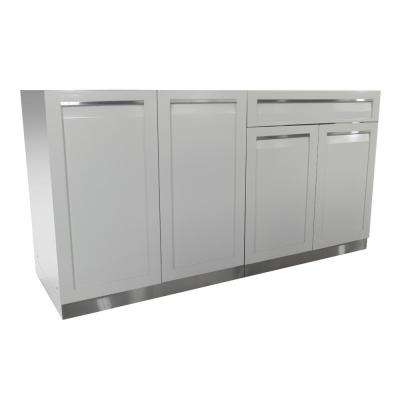 Stainless Steel 2-Piece 64x35x22.5 in. Outdoor Kitchen Cabinet Set with Powder Coated Doors in White