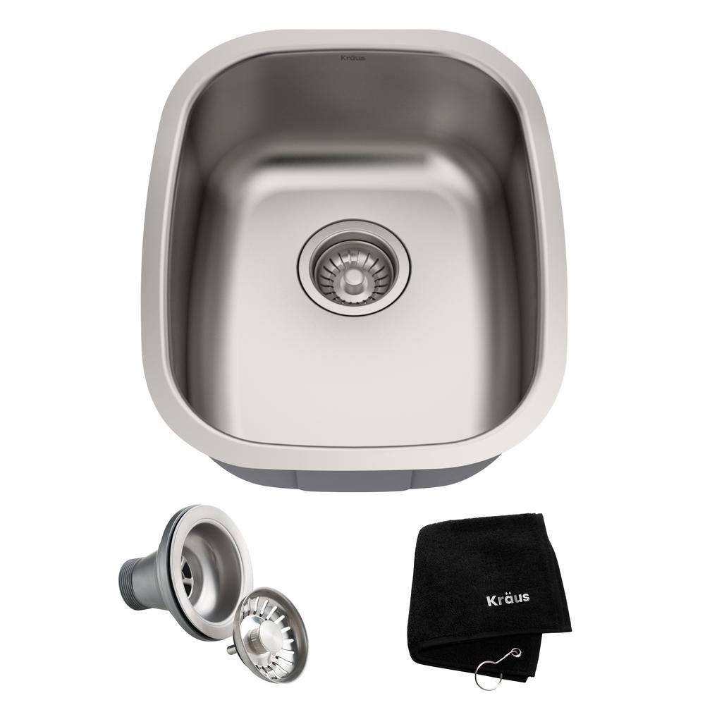 Premier Undermount Stainless Steel 15 in. Rectangular Single Bowl Kitchen Bar Sink