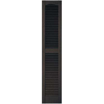 12 in. x 60 in. Louvered Vinyl Exterior Shutters Pair in #010 Musket Brown