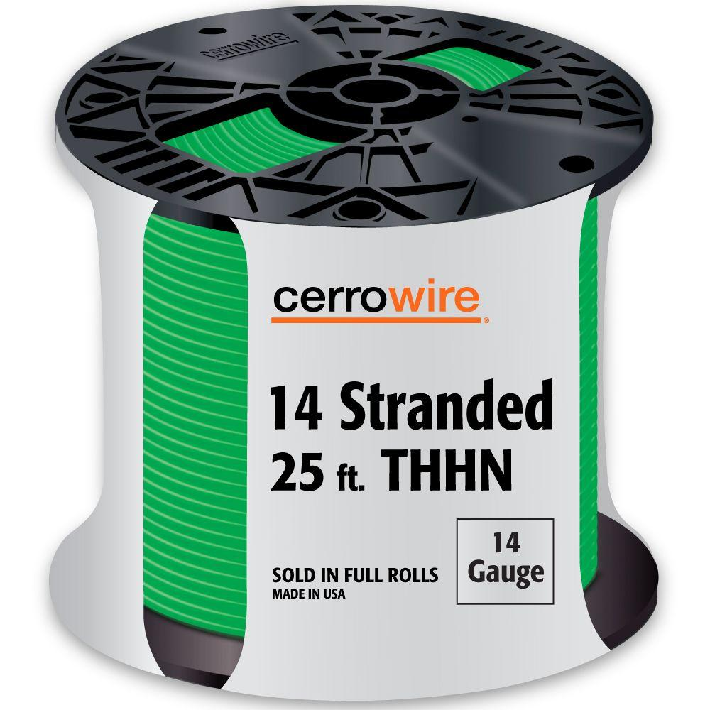 Cerrowire 25 ft. 14-Gauge Green Stranded THHN Wire-112-3405A - The ...
