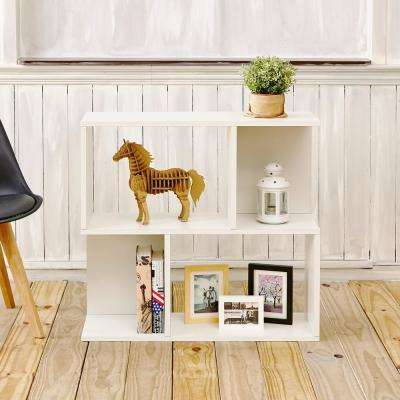 Soho 2 Shelf 11.2 x 32.1 x 30.2 zBoard  Pearl White Bookcase, Side Table, Storage Shelf