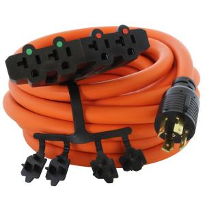 25 ft. 10/4 STW 30 Amp 125/250-Volt 4-Prong L14-30P Generator Plug To (4) 15/20 Amp Household Connector