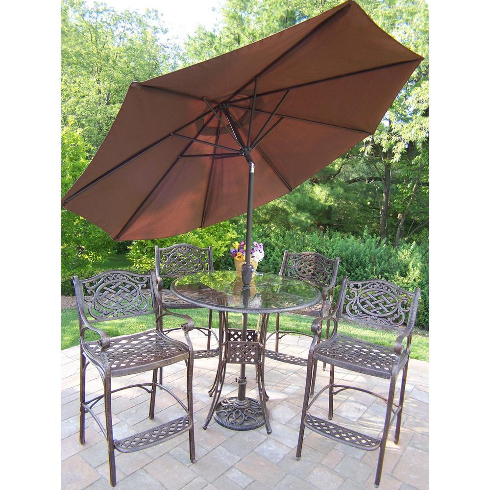 Aluminum 7-Piece Outdoor Bar Height Dining Set with Brown Umbrella