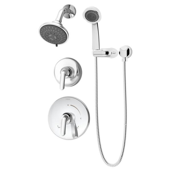 Elm 2-Handle 5-Spray Shower Trim with 3-Spray Hand Shower in Polished Chrome (Valves not Included)