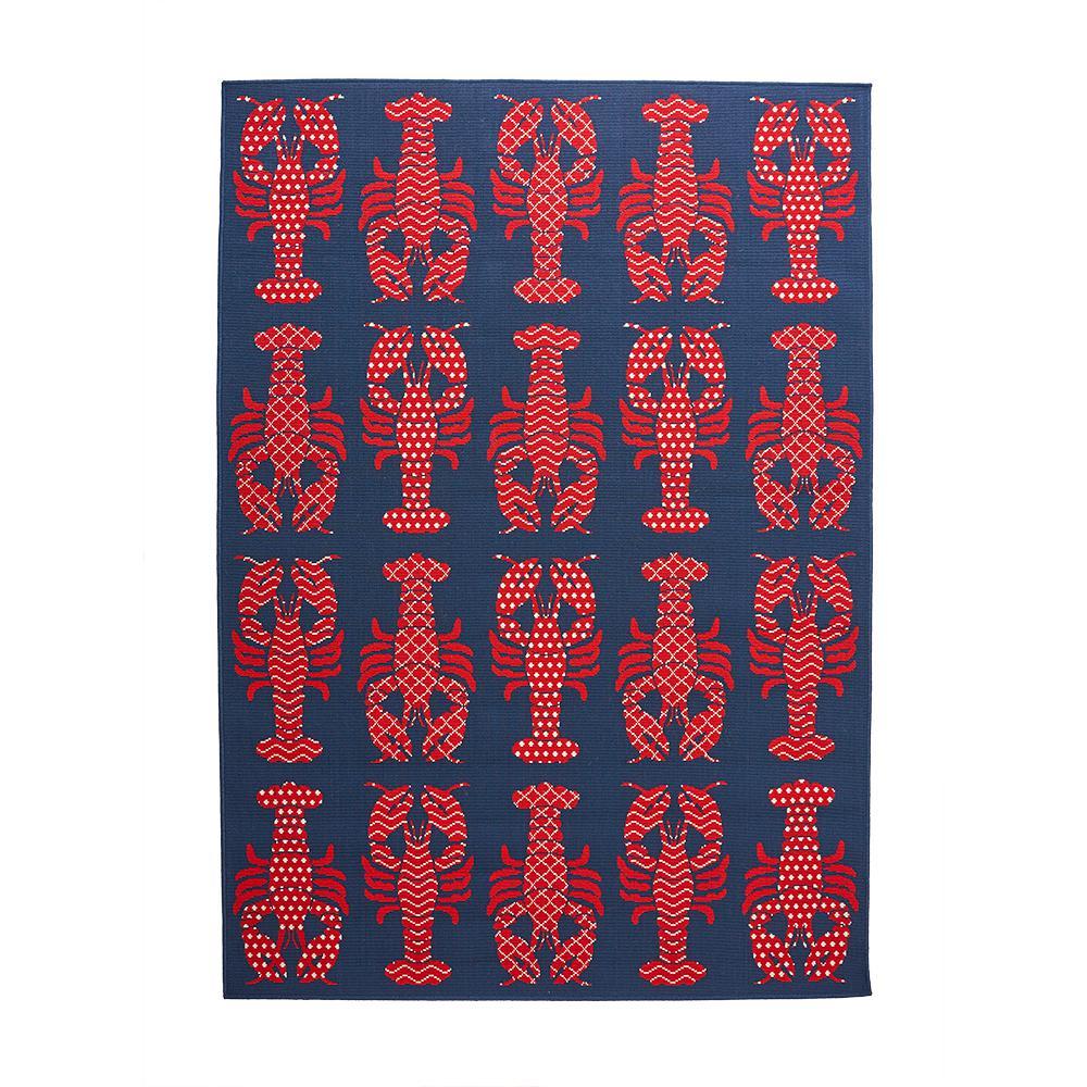 Lobster Blue/Red 5 ft. x 7 ft. Indoor/Outdoor Area Rug
