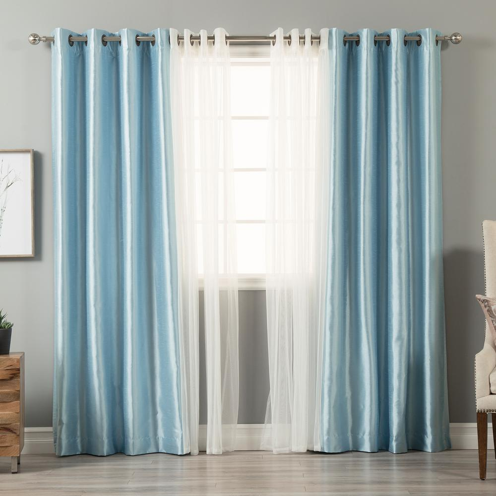 Best Home Fashion 84 In L Umixm Tulle And Sky Blue Faux