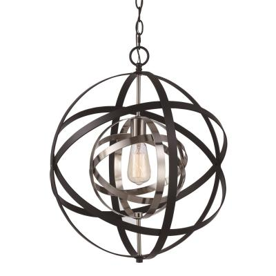 Monrovia 1-Light Rubbed Oil Bronze and Antique Silver Leaf Pendant