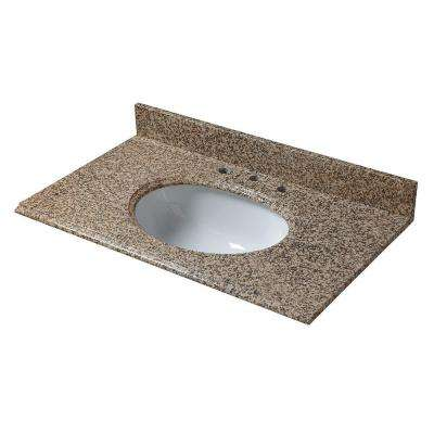 25 in. W Granite Vanity Top in Montesol with White Bowl and 8 in. Faucet Spread