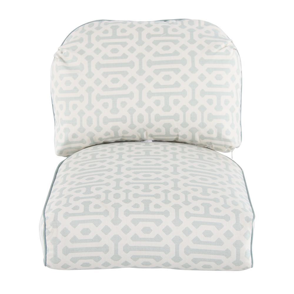 Camden Sunbrella Fretwork Mist Replacement Outdoor Lounge Chair Cushion