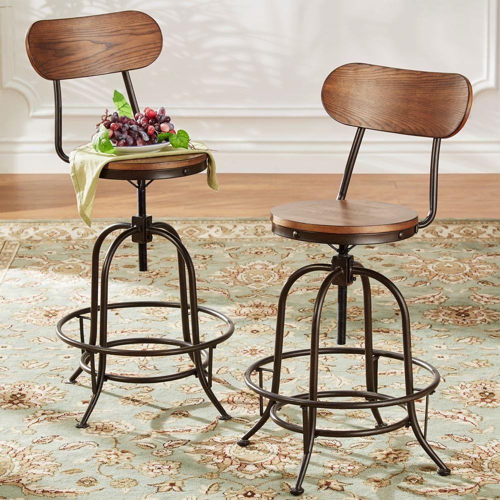 HomeSullivan Olson Industrial 24 in. Brown Swivel Bar Stool (Set of 2)  sc 1 st  The Home Depot : swivel bar stool chairs - islam-shia.org