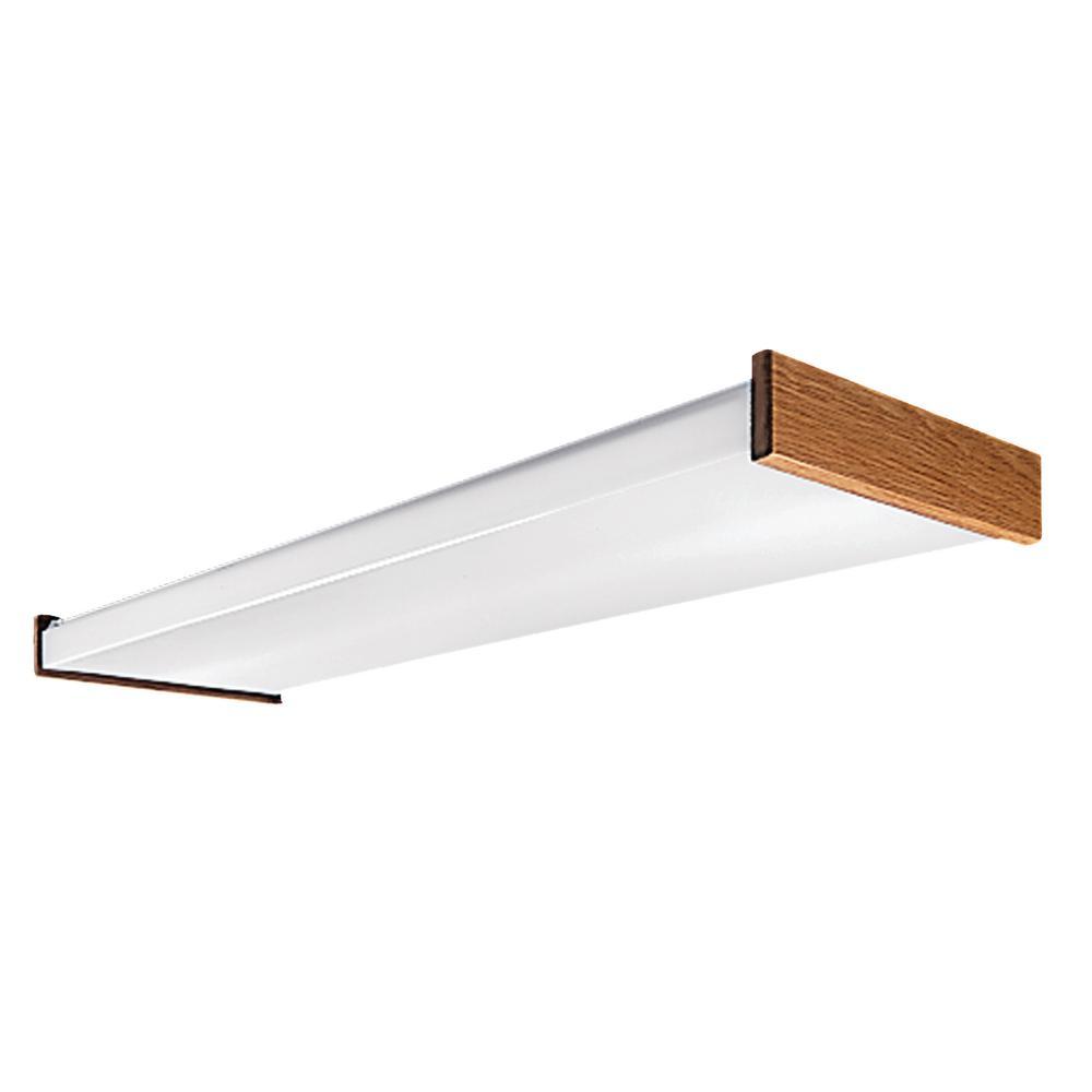 Metalux 4 Ft White 4 Light Residential Fluorescent Wraparound Fixture With Oak Trim Wn432rwe