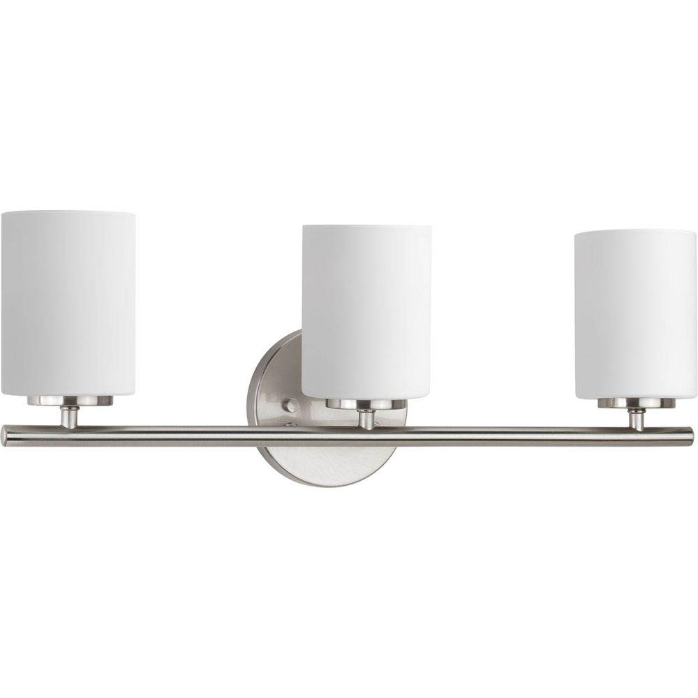 103b23188cb Replay 22 in. 3-Light Brushed Nickel Bathroom Vanity Light with Glass Shades