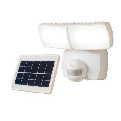 180-Degree White 90-Watt Equivalent Motion Activated Outdoor Solar Powered Integrated LED Twin Head Flood Light