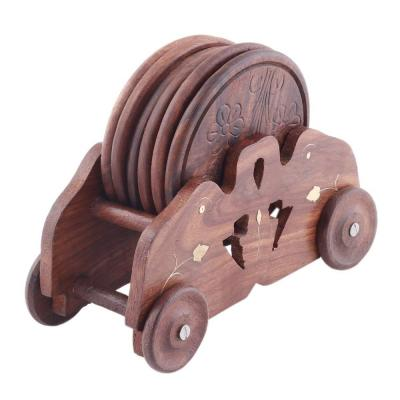 6-Piece Brown Mango Wood Handmade Cart Style Round Coasters with Holder